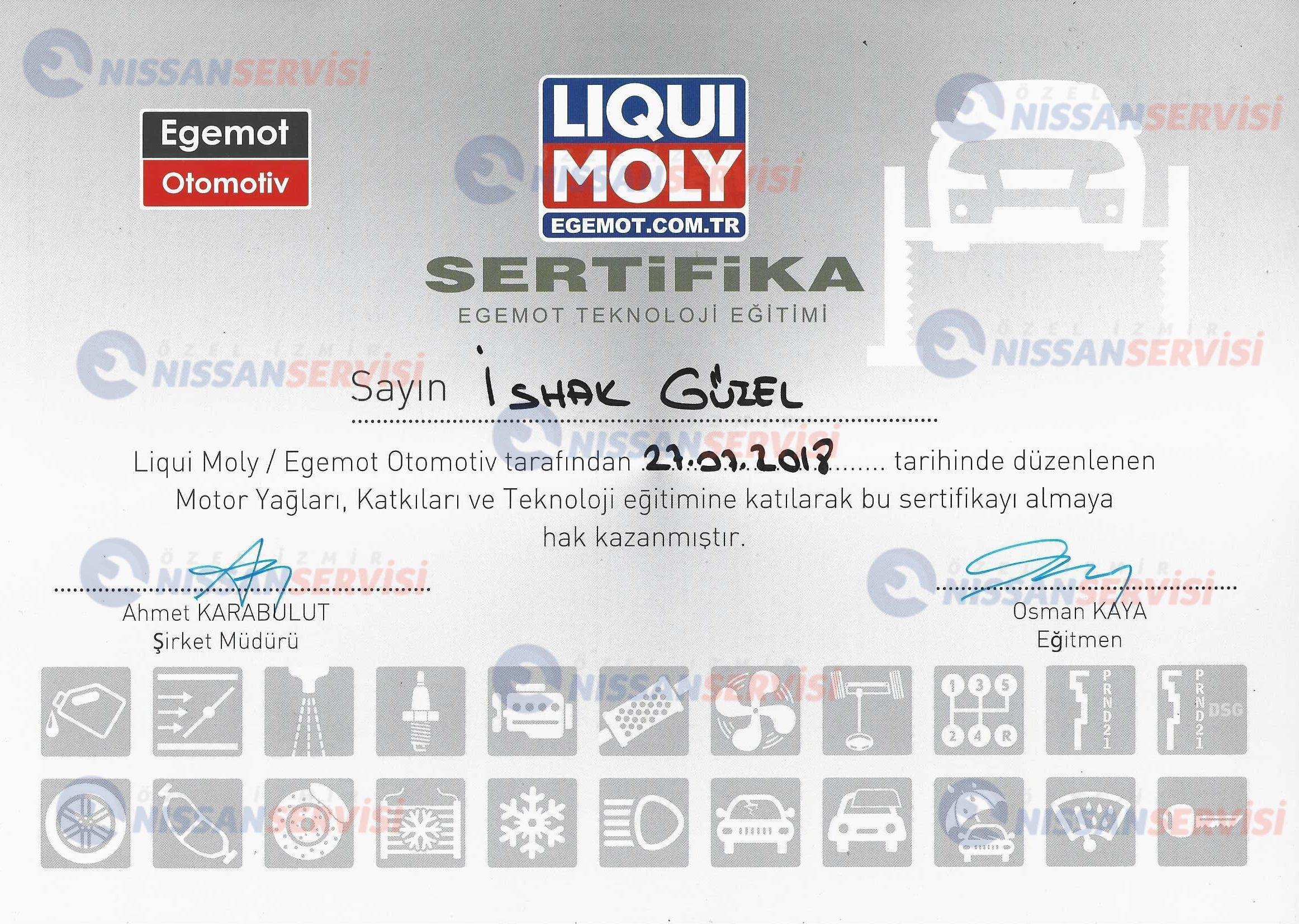 Liqui Moly Egemot Teknoloji Eğitim Sertifikası