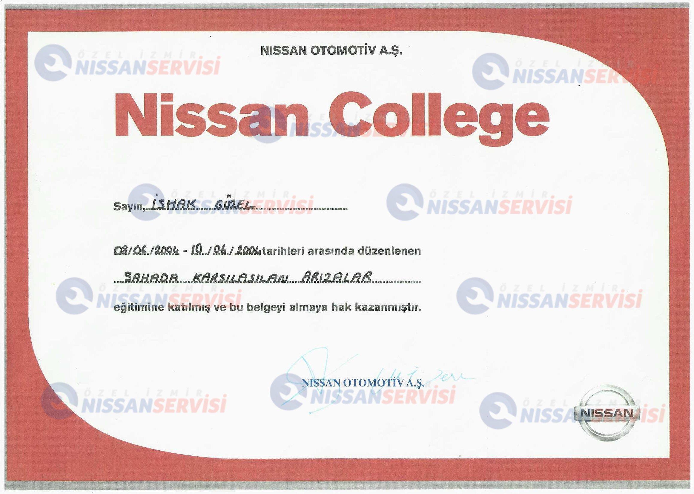 Nissan Otomotiv A.Ş. Eğitim Sertifikası